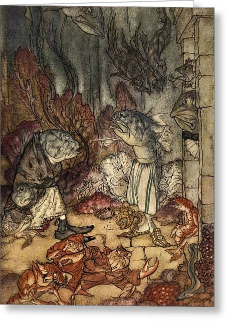 Pitcher Drawings Greeting Cards - A Scaly Set Of Rascals, Illustration Greeting Card by Arthur Rackham