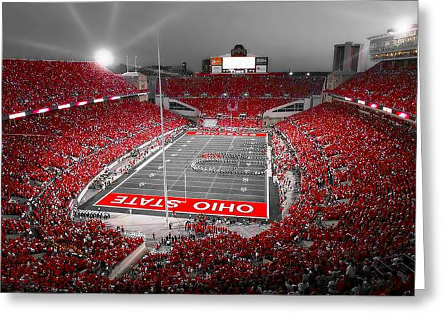 Buckeyes Greeting Cards - A Scarlet Stage Greeting Card by Kenneth Krolikowski