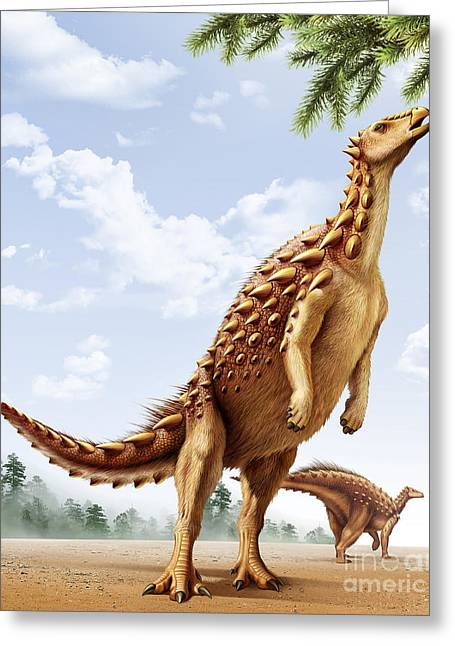 Rearing Up Greeting Cards - A Scelidosaurus Standing On Its Hind Greeting Card by Mohamad Haghani