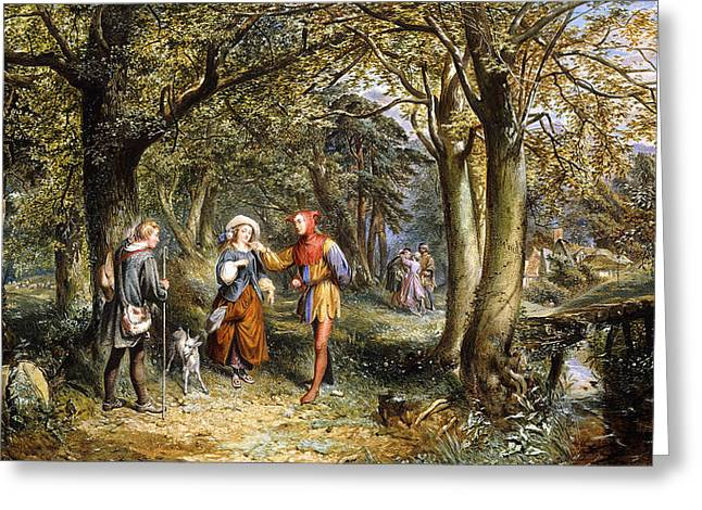 Playwright Greeting Cards - A Scene from As You Like It Rosalind Celia and Jacques in The Forest of Arden Greeting Card by John Edmund Buckley