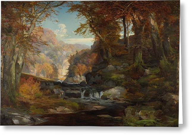 Ravine Greeting Cards - A Scene on the Tohickon Creek Greeting Card by Thomas Moran