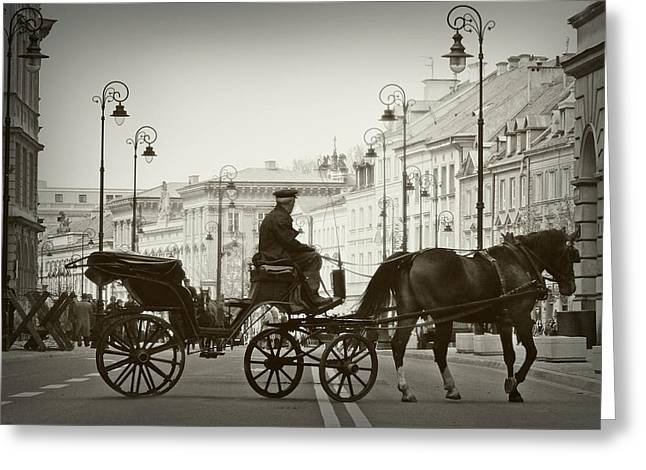 Hansom Greeting Cards - A Scenic Ride Through Warsaw Greeting Card by Mountain Dreams
