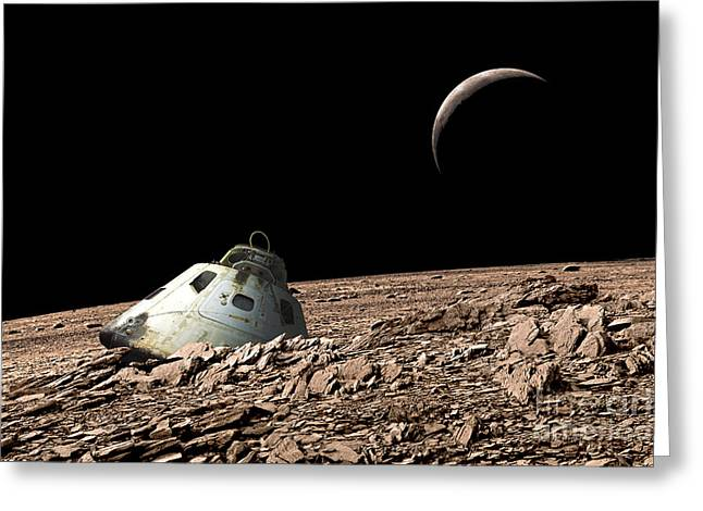 Capsule Greeting Cards - A Scorched Space Capsule Lies Abandoned Greeting Card by Marc Ward