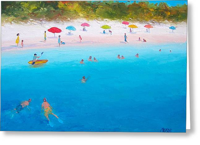 Kids Swimming At Beach Greeting Cards - A scorching summer Greeting Card by Jan Matson