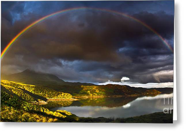 Homeland Greeting Cards - A Scottish Highland Rainbow Kylesku Greeting Card by John Farnan