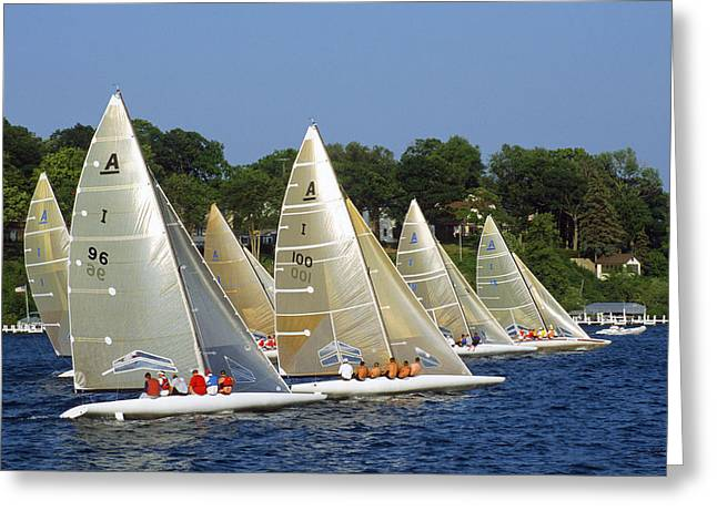 Wisconsin Greeting Cards - A Scow Start - Lake Geneva Wisconsin Greeting Card by Bruce Thompson