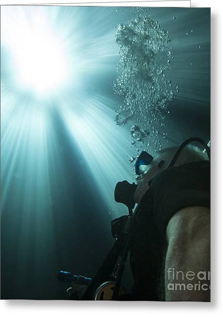 Devils Den Greeting Cards - A Scuba Diver Surfacing And Looking Greeting Card by Michael Wood