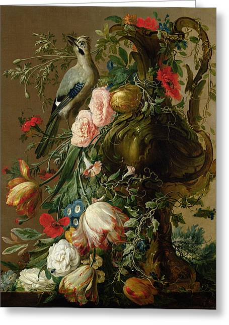 Ewer Paintings Greeting Cards - A Sculpted Stone Vase With Roses Greeting Card by Jacobes Vonck