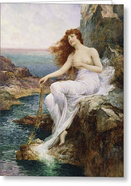 Junior Greeting Cards - A Sea Nymph Seated on a Rock with a Ribbon of Seaweed Greeting Card by Alfred Glendening Jr