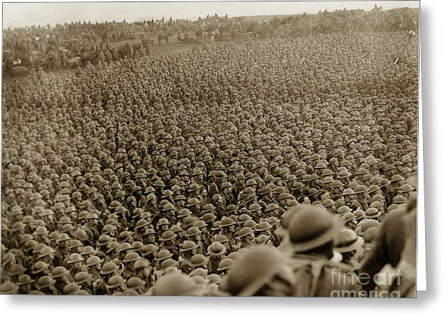 Doughboy Photographs Greeting Cards - A sea of helmets World War one 1918 Greeting Card by California Views Mr Pat Hathaway Archives