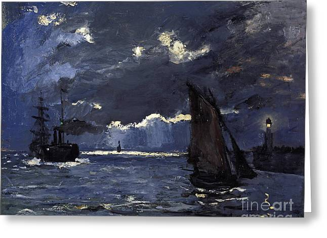 Vintage Painter Greeting Cards - A Seascape Shipping by Moonlight Greeting Card by Claude Monet