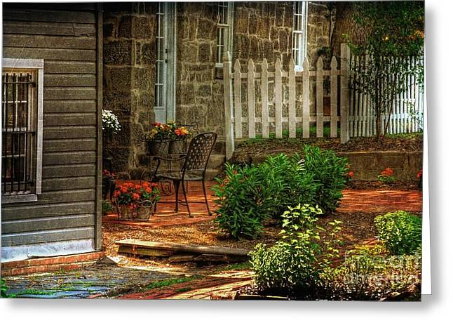 Table And Chairs Digital Greeting Cards - A Seat In The Shade Greeting Card by Lois Bryan