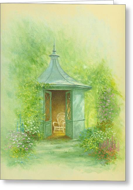 Shed Photographs Greeting Cards - A Seat in the SUmmerhouse Greeting Card by Garry Walton