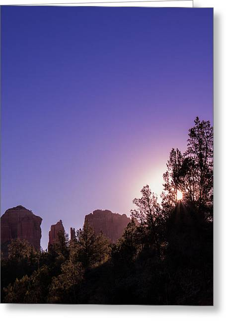 Cathedral Rock Greeting Cards - A Sedona Sun Rises Greeting Card by Wasim Muklashy