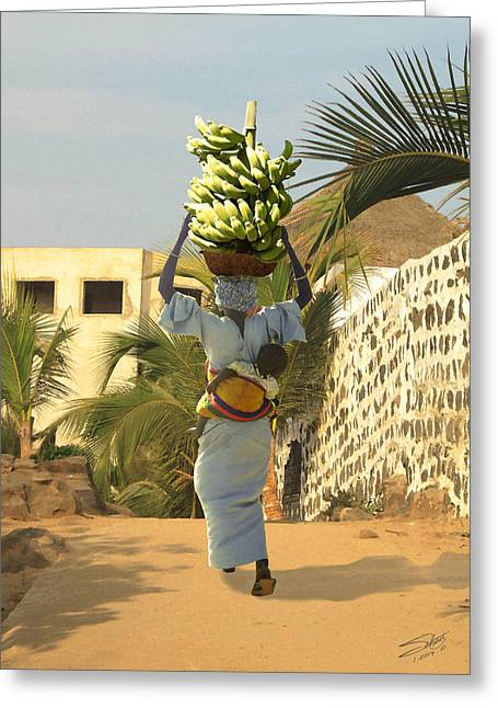 Senegal Greeting Cards - A Senegalese Mother and Child Greeting Card by Schwartz