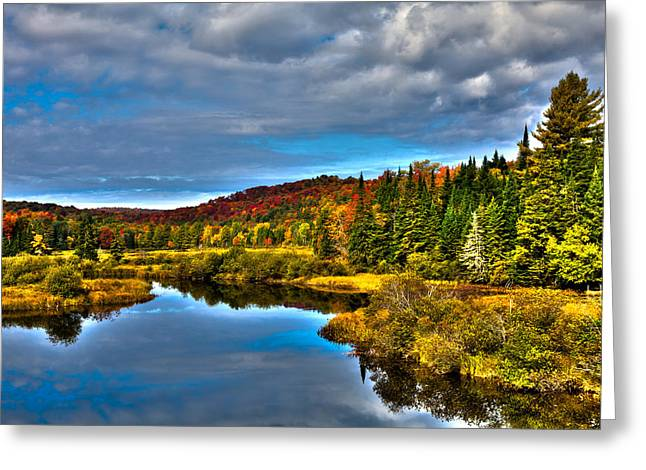 A River In Autumn Greeting Cards - A September Day at the Green Bridge Greeting Card by David Patterson