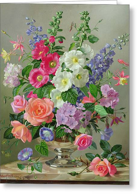 Still-life With Flowers Greeting Cards - A September Floral Arrangement Oil On Canvas Greeting Card by Albert Williams