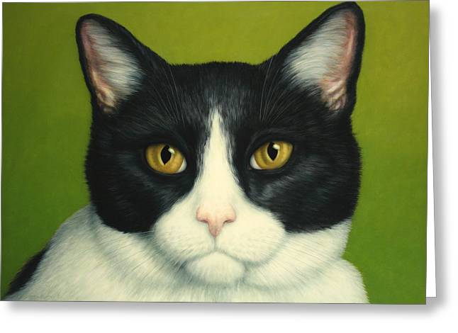 James W Johnson Greeting Cards - A Serious Cat Greeting Card by James W Johnson
