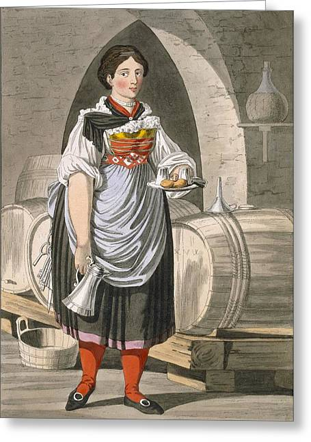 Waitresses Greeting Cards - A Serving Girl At An Inn Greeting Card by Josef Anton Kapeller