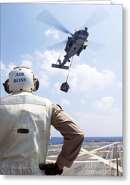Hand On Waist Greeting Cards - A Sh-60 R Seahawk Prepares To Drop Greeting Card by Stocktrek Images