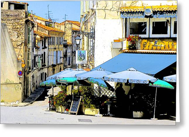 European Restaurant Digital Greeting Cards - A Shady Spot Greeting Card by Douglas J Fisher