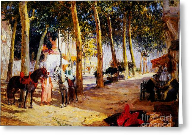 Sahara Sunlight Greeting Cards - A Shady Street  Greeting Card by Celestial Images