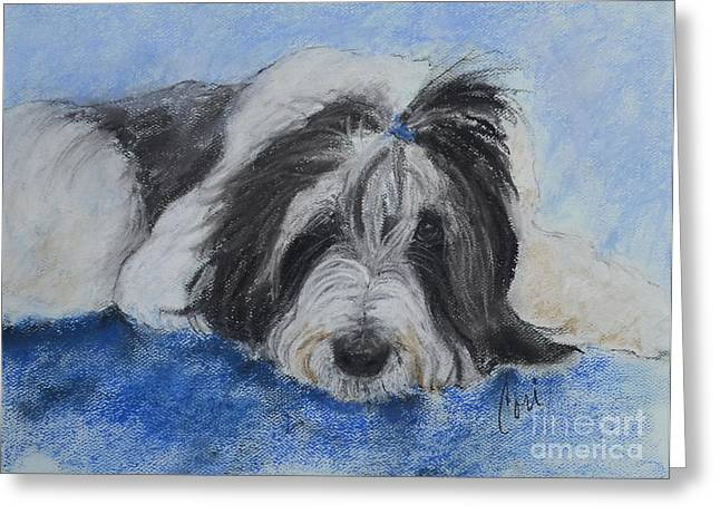 White Beard Pastels Greeting Cards - A Shaggy Expression of Love Greeting Card by Cori Solomon