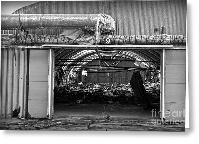 Shed Photographs Greeting Cards - A shed in an abandoned mushroom farm BW Greeting Card by RicardMN Photography