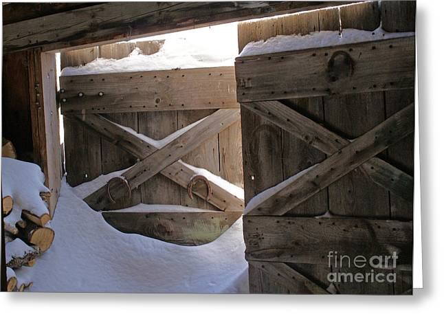 Old Maine Barns Greeting Cards - A Shed Of Snow Greeting Card by Michelle Shea