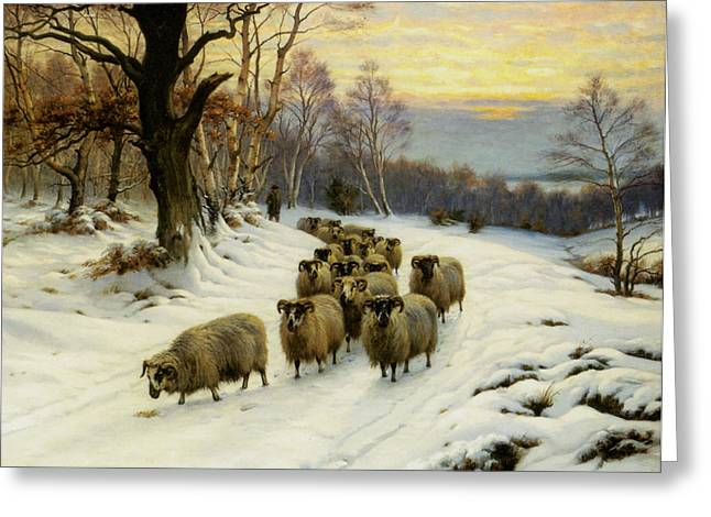 Wright Barker Greeting Cards - A Shepherd And His Flock Greeting Card by Wright Barker
