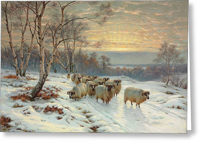 Recently Sold -  - Grazing Snow Greeting Cards - A Shepherd with his Flock in a Winter Landscape Greeting Card by Wright Barker