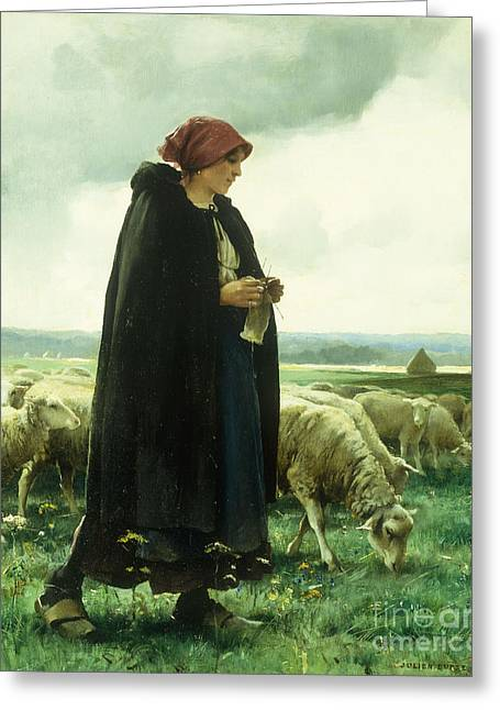 A Shepherdess With Her Flock Greeting Card by Julien Dupre