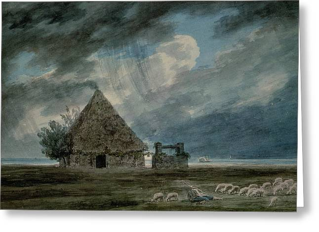 Storm Landscape Greeting Cards - A Shepherds Hut Between Naples Greeting Card by John Robert Cozens