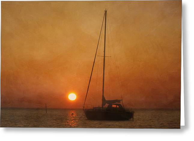 A Ship In The Night Greeting Card by Kim Hojnacki