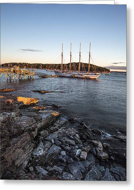Boats In Harbor Greeting Cards - A Ship Greeting Card by Jon Glaser