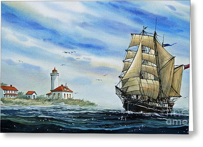 Tall Ship Canvas Greeting Cards - A Ship There Is Greeting Card by James Williamson