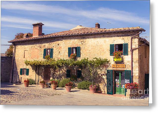 Tuscan Hills Greeting Cards - A shop in traditional tuscan warm stone on the Piazza Roma  in M Greeting Card by Peter Noyce