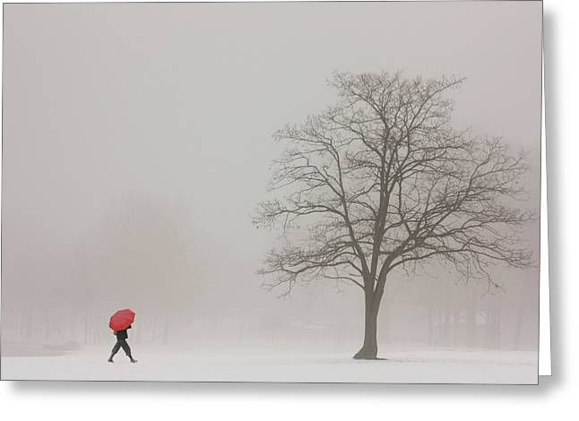 Photos With Red Photographs Greeting Cards - A Shortcut Through The Snow Greeting Card by Tom York Images