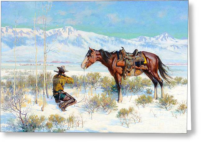 Chinook Paintings Greeting Cards - A Shot at the Bunch Greeting Card by De Cost Smith