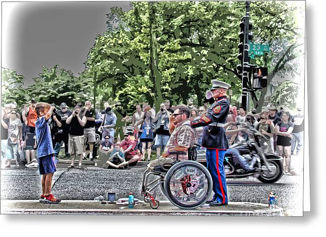 A Show Of Respect Greeting Card by Tom Gari Gallery-Three-Photography
