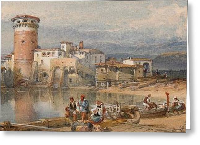 Ocean Landscape Drawings Greeting Cards - A Sicilian Village Greeting Card by William Leighton Leitch