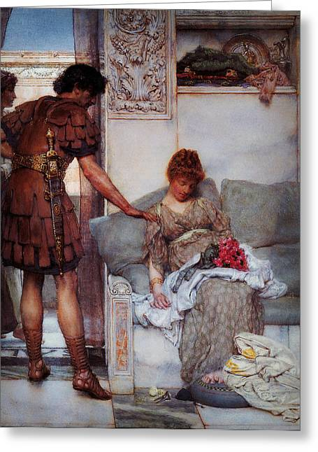 Shell Texture Greeting Cards - A Silent Greeting by Sir Lawrence Alma Tadema Greeting Card by MotionAge Designs