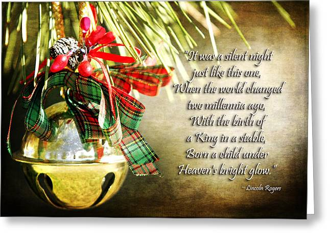 Christ Child Greeting Cards - A Silent Night Like This One Greeting Card by Lincoln Rogers
