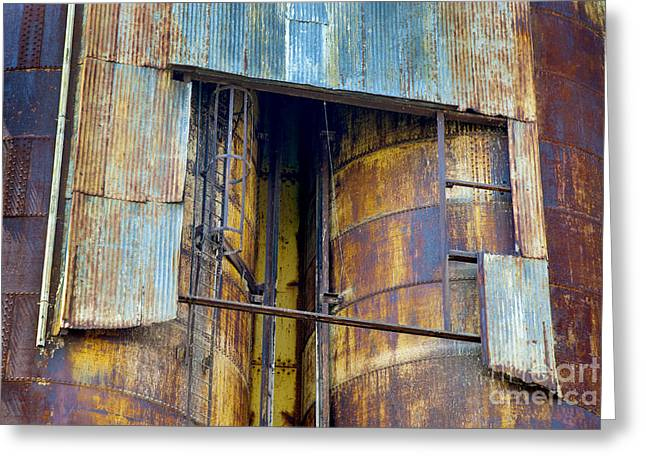 Grain Mill Greeting Cards - A Silo of many colors Greeting Card by Paul W Faust -  Impressions of Light