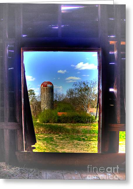 Dairy Barn Greeting Cards - A Silo Shot thru a Hole In The Barn Wall too Greeting Card by Reid Callaway