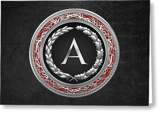 Cadeau Greeting Cards - A - Silver Vintage Monogram on Black Leather Greeting Card by Serge Averbukh