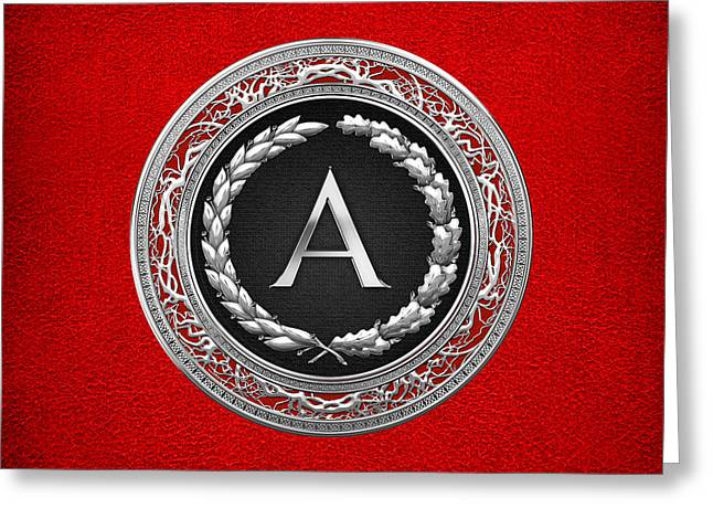 Cadeau Greeting Cards - A - Silver Vintage Monogram on Red Leather Greeting Card by Serge Averbukh