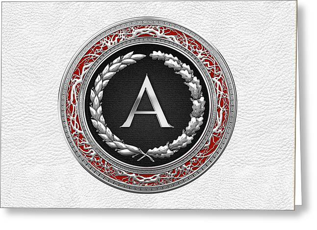 Cadeau Greeting Cards - A - Silver Vintage Monogram on White Leather Greeting Card by Serge Averbukh