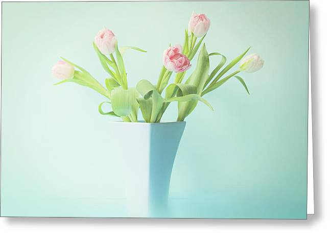 Pink Flower Prints Greeting Cards - A Simple Bouquet Greeting Card by Theresa Tahara