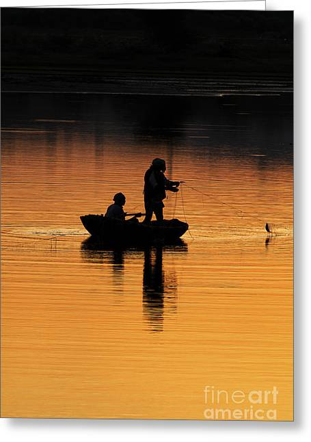 Boats In Water Greeting Cards - A Simple Catch Greeting Card by Tim Gainey